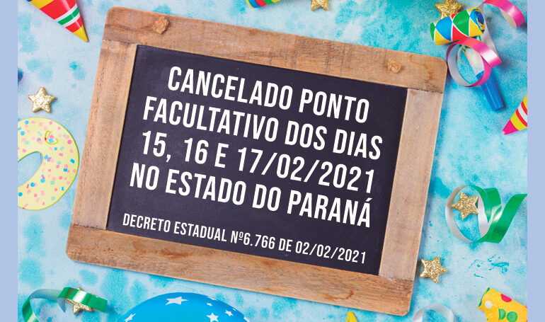 Governo do Estado do Paraná cancela ponto facultativo do carnaval